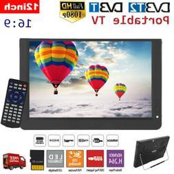 "1080P TV 12"" Portable DVB-T/T ATSC LED Car Digital HDMI Vide"