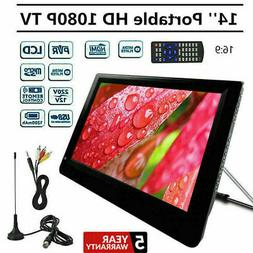 "14"" Digital Analog Television Portable LED DVB-T2 DC12V Free"