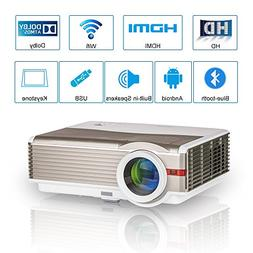 2018 Upgraded Bluetooth Android 6.0 Projector Home Cinema Th
