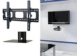 2xhome - NEW TV Wall Mount Bracket & One  Single Shelf Packa