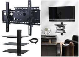 2xhome – NEW TV Wall Mount Bracket  & Three  Triple Shelf
