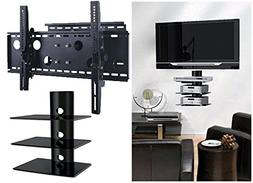 2xhome – NEW TV Wall Mount Bracket  &  Triple Shelf Packag