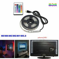 5050 USB RGB LED Strip Light Bar TV Back Lighting Kit+Remote