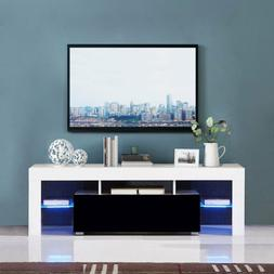 "51"" TV Stand Entertainment LED Shelf Console Storage Wood Ca"