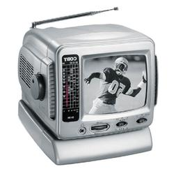 """Coby CX-TV1 5"""" Black-and-White TV with AM/FM Tuner"""