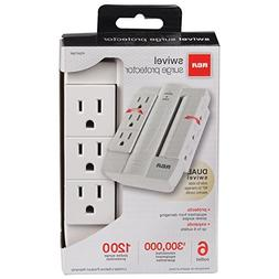 RCA PSWTS6F Wall Tap Surge Protector with 6 Swivel Outlets