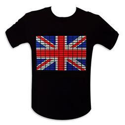 T-shirt English flag bright LED equalizer S