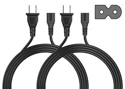 Pwr+ 2 PACK Long 6 Ft 2 Prong Polarized-Power-Cord IEC-6032