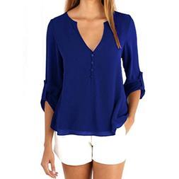 UONQD Woman Womens Loose Long Sleeve Chiffon Casual Blouse S