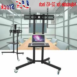Adjustable Mobile TV Cart LCD LED Flat Panel Stand w/ Wheels