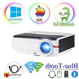 "200"" LCD LED HD Android6.0 Projector WiFi Bluetooth 4200 Lum"