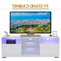 High Gloss White LED TV Stand Unit with 2 Shelves & Doors Ca