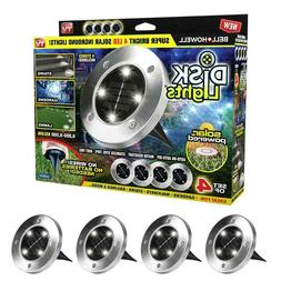Disk Lights 4-LED Solar-Powered Auto On/Off Outdoor Lighting