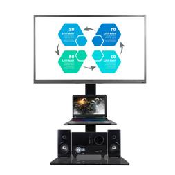 Floor TV Stand With Swivel Mount Shelves Adjustable For LED