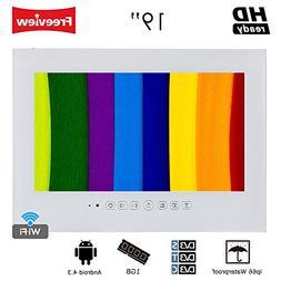 """Soulaca 19"""" Frameless Android Smart White Bathroom TV Built-"""