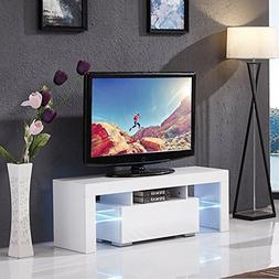 Mecor Modern White TV Stand, 51 Inch High Gloss LED TV Stand