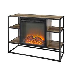"WE Furniture Hallway 40"" Metal and Wood Open Shelf Fireplace"