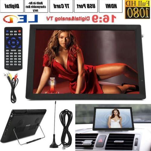 """Portable 14"""" 1080P HD Digital TV TFT LED Car USB HDMI TV Vid"""