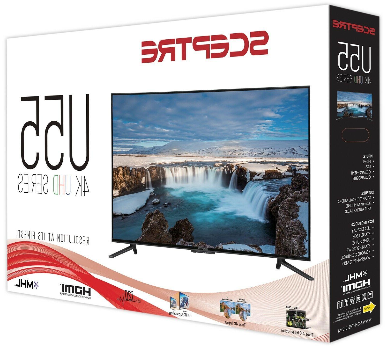 "55"" 4K Ultra HD LED Flat Screen Sceptre Home Cinema"