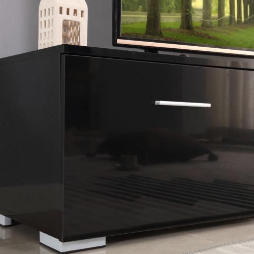 63'' Long Black Entertainment Units Home Table