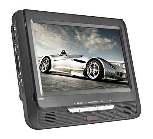 """Sykik 9.8"""" Dual portable DVD player built-in battery. use in home go. worldwide use. SD with"""