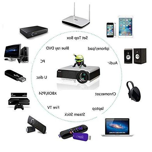 Gzunelic Wifi Video Projector Theater Wireless Miracast Ideal Home Entertainment