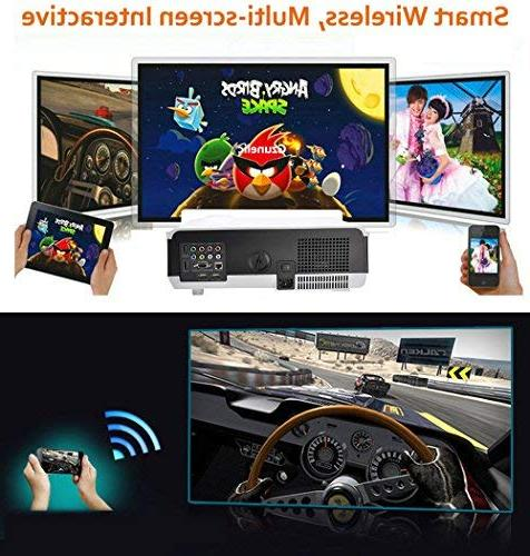 Gzunelic 4500 Android Wifi 1080p Video Projector LCD LED Theater Wireless Synchronize Phone Airplay Miracast Entertainment