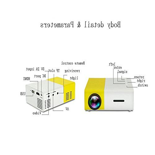 E&Tree Mini Projector LED Home Theater 1080P Speaker Player TV Laptop Game - Projectors