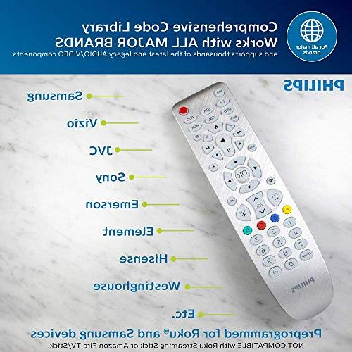 Philips 6 Remote, Works Smart TVs, Vizio, Blu DVD, Streaming Scan, Pre-Programmed TVs, Black, SRP3016S/27