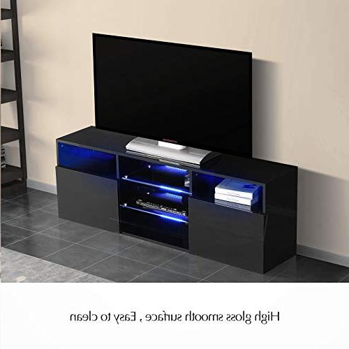 """Mecor Gloss TV Stand with 58"""" TV Shelves 3 2 Open Storage"""