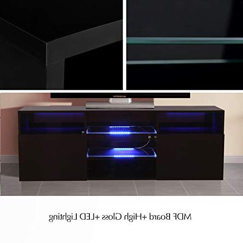 """Mecor High TV Stand with LED Lights, 58"""" 3 2 Open Shelf"""