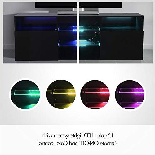 """Mecor High Gloss TV Stand with LED 58"""" 3 Layers, Open"""
