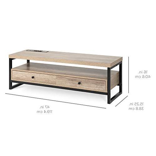Best Products Mid-Century Entertainment Center for Home Den 3 Ports, Outlets, Input,
