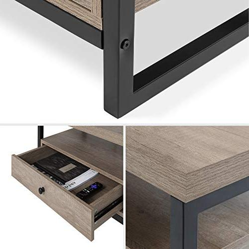 Best Products Modern Bluetooth TV Stand Entertainment Console Center for Home Theater, 3 Outlets, Drawers