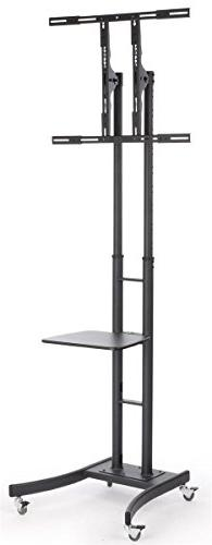 Mobile LCD TV Stand with Locking Casters, Height Adjustable