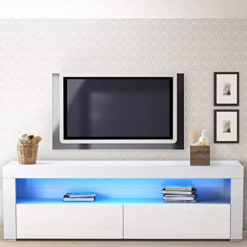 Tangkula Cabinet Entertainment LED Shelf and