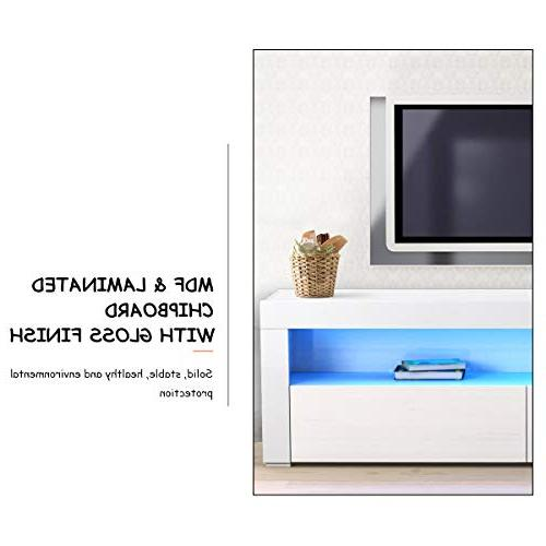 Tangkula Modern TV High Cabinet Entertainment Center with LED