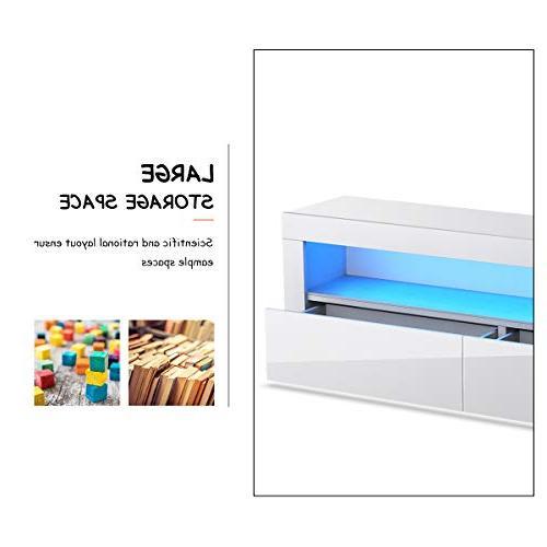 Tangkula Modern High Gloss Cabinet Center LED