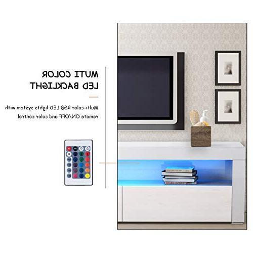 Tangkula Modern High Media Console Cabinet LED Shelf Drawers