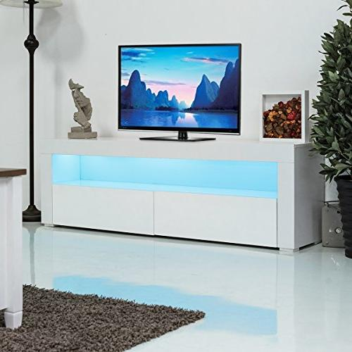 Tangkula Modern High Gloss Console Cabinet with LED Shelf
