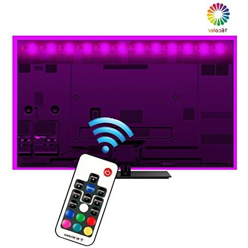 EveShine Neon Strips Bias Backlight RGB Lights with Remote Control for HDTV, TV and PC, Multi