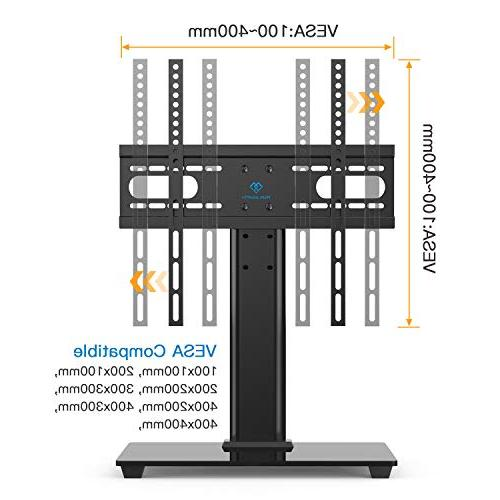 PERLESMITH Universal Stand - Table Stand for 37-55 LCD LED TVs - Height Adjustable Stand with Base & VESA 400x400mm