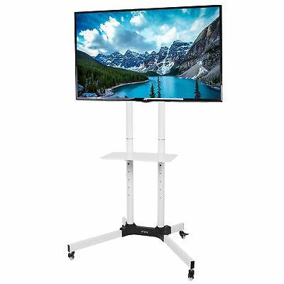 white mobile tv cart