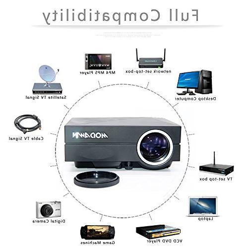 Modawn 1200 Lumens UNIC Home WIFI for Home Video Games TV DVD with USB/AV/SD/VGA/HDMI Input