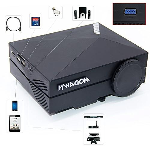Modawn 1080P Wifi 1200 Lumens Movie UNIC Home Cinema WIFI for Video Games Movie DVD USB/AV/SD/VGA/HDMI Input