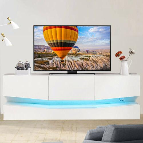 wood floating led tv stand wall mount