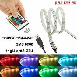 LED Strip Light USB TV Back Lamp 5050 RGB Color Change+Remot