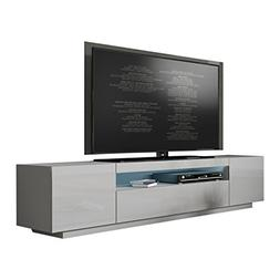 "MEBLE FURNITURE & RUGS Miami 200 Modern 90"" TV Stand High Gl"