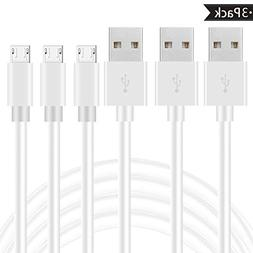 Micro USB Cable, 3 Pack 6ft Android phone Fast charger cord