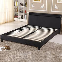 UHOM Modern Home Bedroom Bed Frame Contemporary Wood Steel P